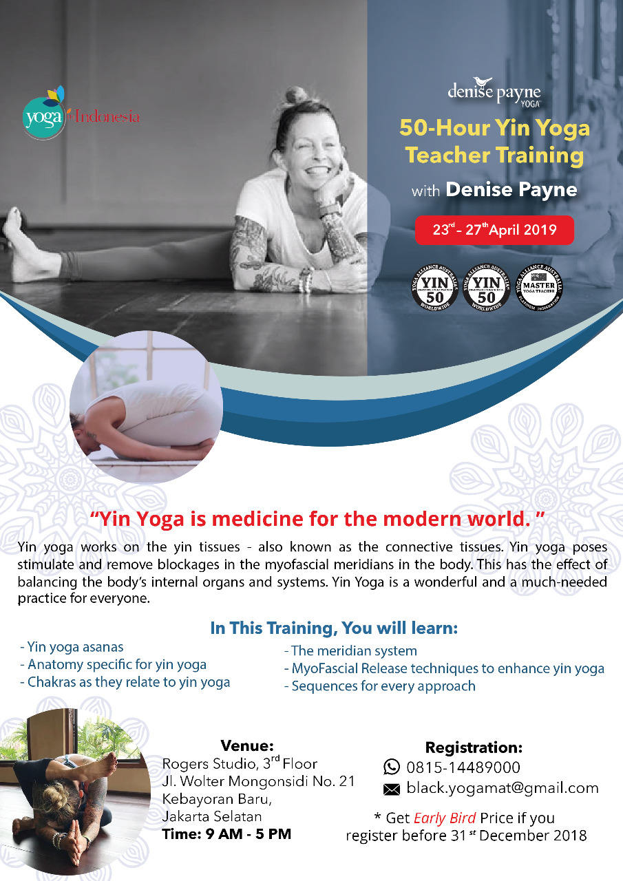 50-Hour Yin Yoga Teacher Training with Denise Payne 2019