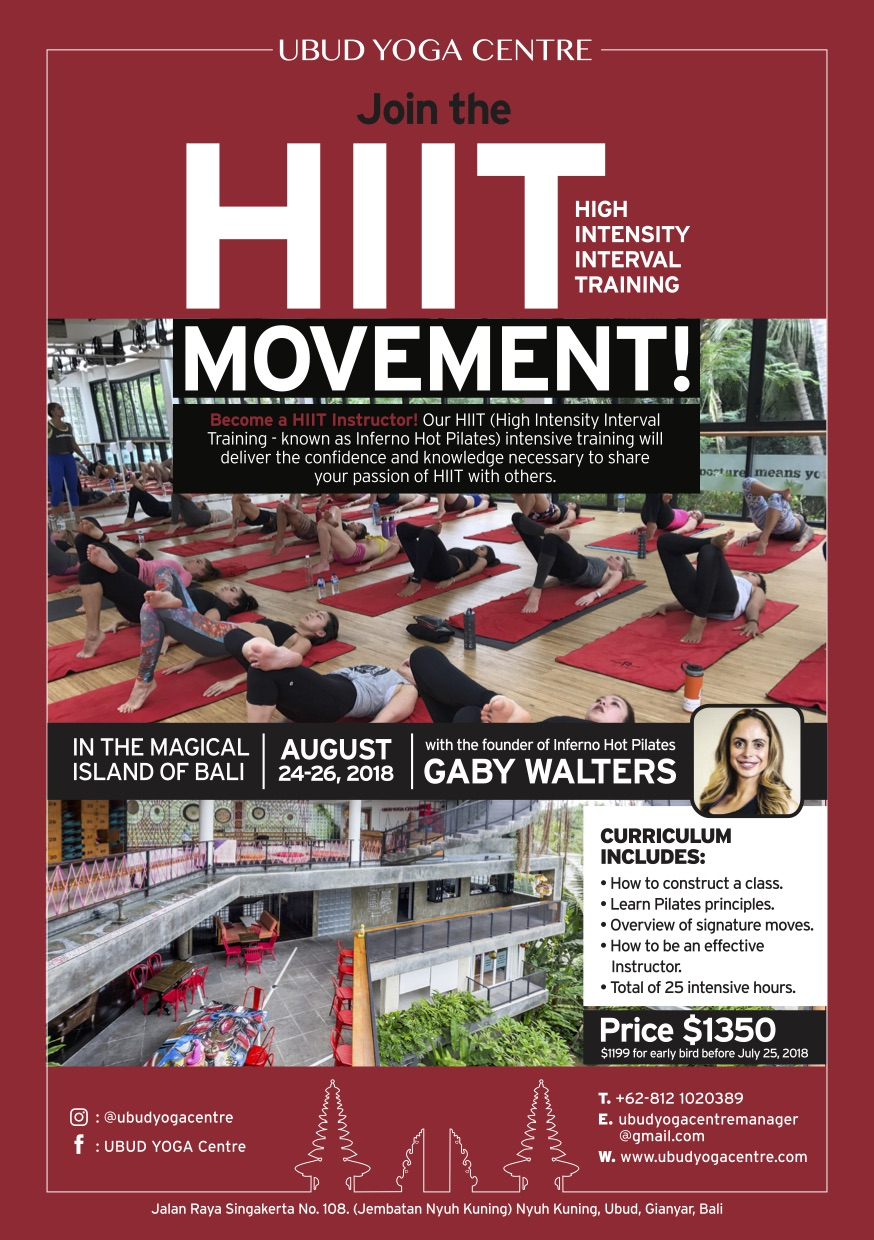 High Intensity Interval Training with Gaby Walters at Ubud Bali 24-26 August 2018