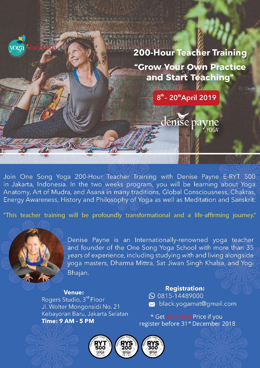 200-Hour Teacher Training with Denise Payne April 2019